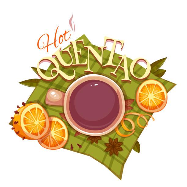 ilustrações de stock, clip art, desenhos animados e ícones de bandeira com quentao e laranja para o brasil de junho. vetorial - douro