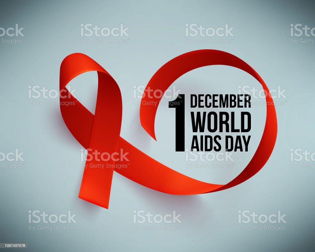 Banner com realista fita vermelha. Cartaz com o símbolo do mundo auxilia dia, 1 de dezembro. Modelo de design, vetor. - Vetor de AIDS royalty-free