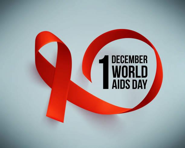 gerçekçi kırmızı kurdele ile banner. dünya simgesi poster günü, 1 aralık yardımcı olur. tasarım şablonu, vektör. - aids stock illustrations