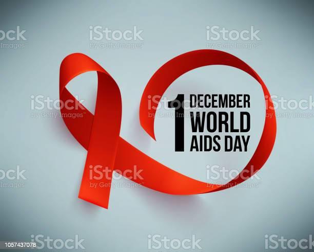 Vetores de Banner Com Realista Fita Vermelha Cartaz Com O Símbolo Do Mundo Auxilia Dia 1 De Dezembro Modelo De Design Vetor e mais imagens de AIDS