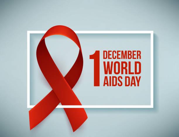 gerçekçi kırmızı kurdele ile banner. dünya simgesi poster günü, 1 aralık yardımcı olur. tasarım şablonu, vektör - aids stock illustrations