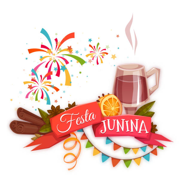 ilustrações de stock, clip art, desenhos animados e ícones de bandeira com fita vermelha e quentao para festa junina brasil - douro
