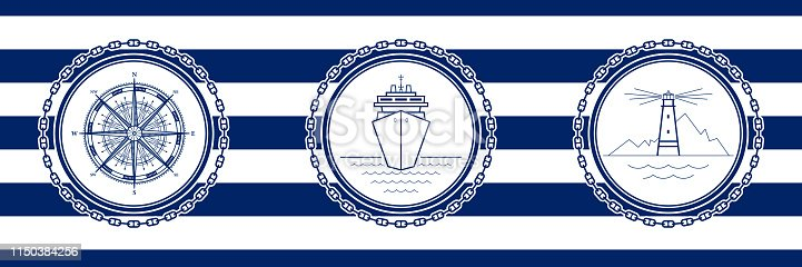 Banner with Sea Emblems on Seamless Striped Marine Background, Compass Rose and Cruise Ship and Lighthouse , Vector Illustration