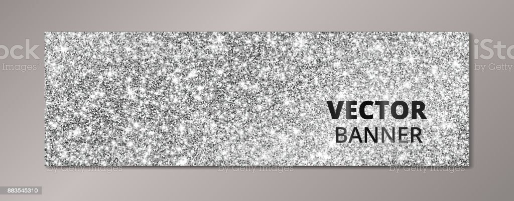 Banner With Silver Glitter Background Sparkling Diamonds Vector Dust Royalty Free