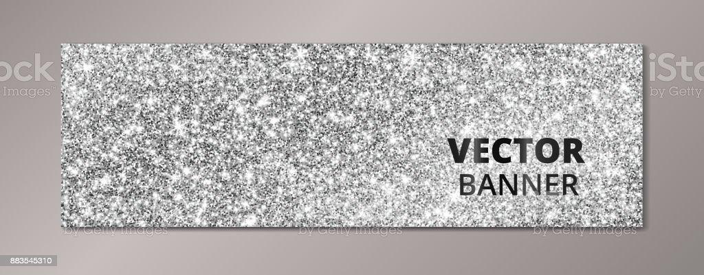 Banner with silver glitter background. Sparkling diamonds, vector dust. vector art illustration