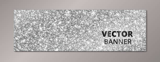 Banner with silver glitter background. Sparkling diamonds, vector dust. vector art illustration