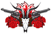 Vector banner with goat skull, red roses, big old revolvers and barbed wire isolated on white background. Suitable for design element for gun shop, t-shirt design, clothes, textiles, tattoo.