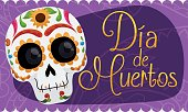 """Banner with Smiling Mexican Skull Celebrating """"Dia de Muertos"""""""