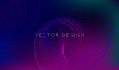 Futuristic banner with spiral, trend abstract gradient background, minimalist banner, vector space composition
