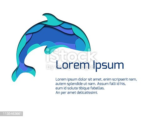 Banner with ssilhouette of grampus with 3d element cut out of paper in blue colors. Killer whale.  Vector summer template for presentations, banners, flyers and your design.