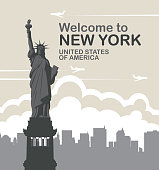Vector banner with Statue of liberty, flying planes and silhouettes of skyscrapers. Welcome to New York, United States of America