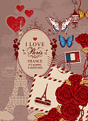 Vector travel banner in vintage style with words I love Paris, with Eiffel Tower, butterfly and red roses, envelopes, postage stamp and french flag on the background of the old manuscript with spots.