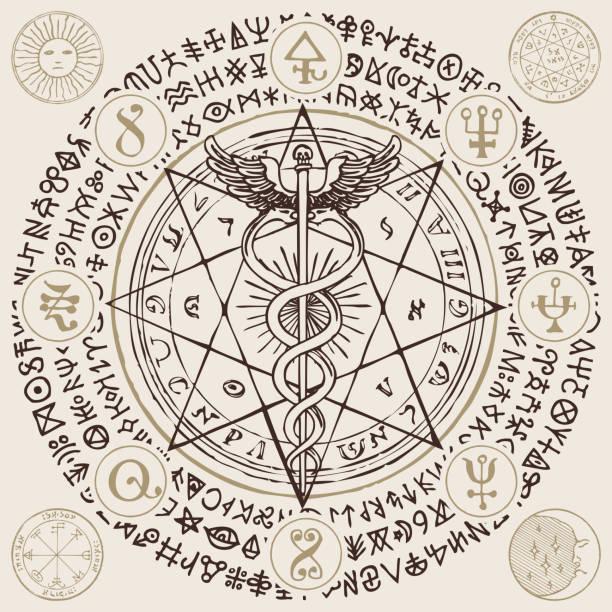 illustrazioni stock, clip art, cartoni animati e icone di tendenza di banner with the hermes staff, caduceus and runes - ancient medical symbol