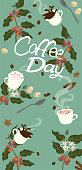 Banner with the inscription coffee day. Coffee attributes. Vector graphics.