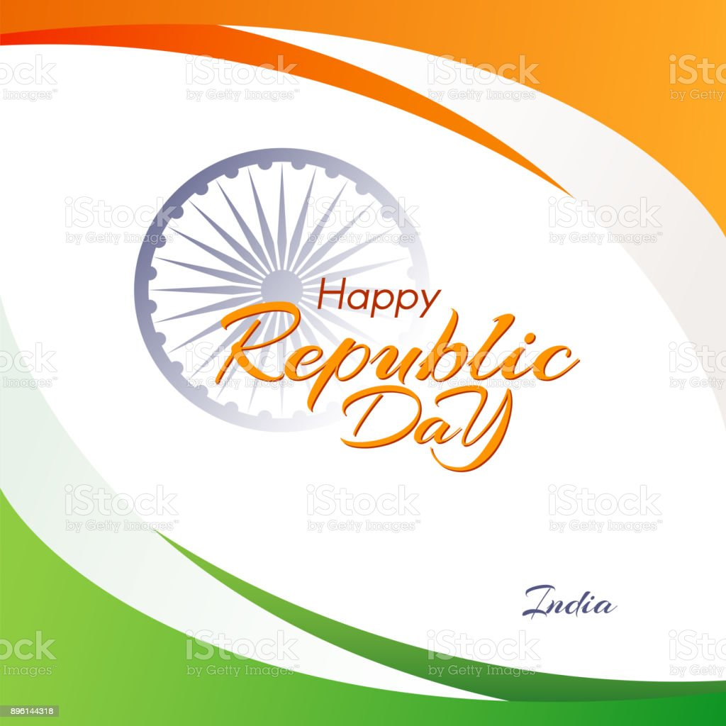 Banner With The Text Of The Republic Day In India Abstract
