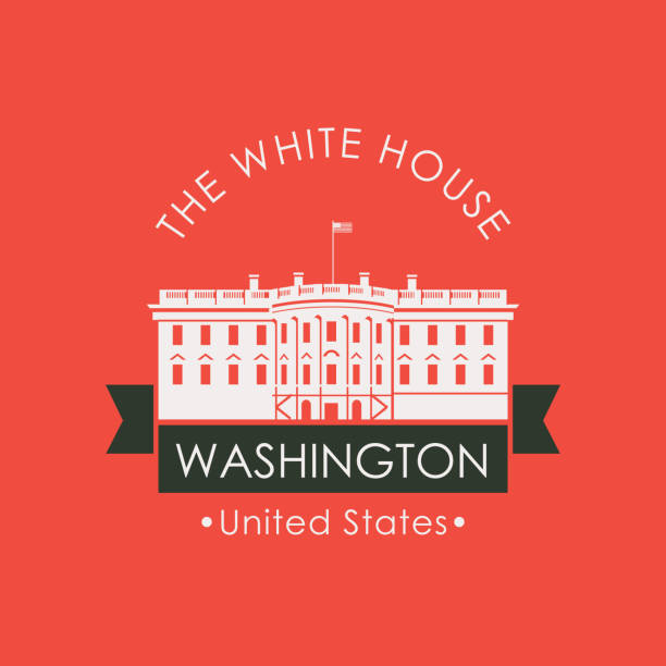 Banner with the White house in Washington DC, USA Vector travel banner or logo. The famous presidential residence the White house in Washington DC, USA. American landmark in retro style on red background white house stock illustrations