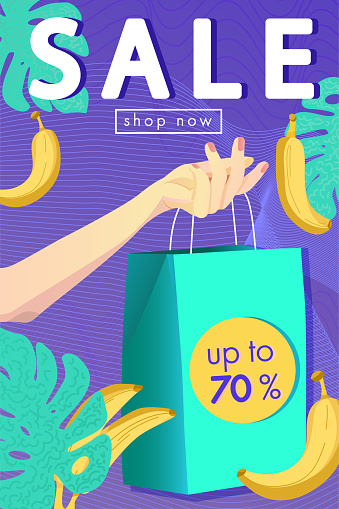 SALE banner with tropical design.