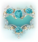Blue patterned banner with a patterned frame of white gold, decorated with turquoise jewelry roses. Blue tiffany. Fashionable color. Turquoise rose.