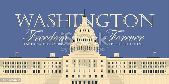 Vector banner or card with words Freedom forever and image of the US Capitol Building in Washington DC, close up in retro style. American landmark.