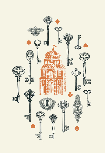 Banner with vintage keys, keyholes and old building. Hand-drawn illustration in retro style on a light background