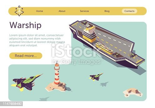 Banner with Warship Floating in Sea and Military Jets Flying to Land on Ship Platform. Isometric Battleship Model and War Transport. Navy Vessel and Air Jet-Propelled Airplane. Vector 3d Illustration