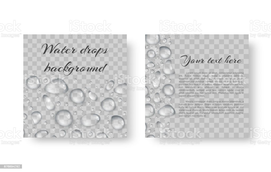 Banner with water drops vector art illustration