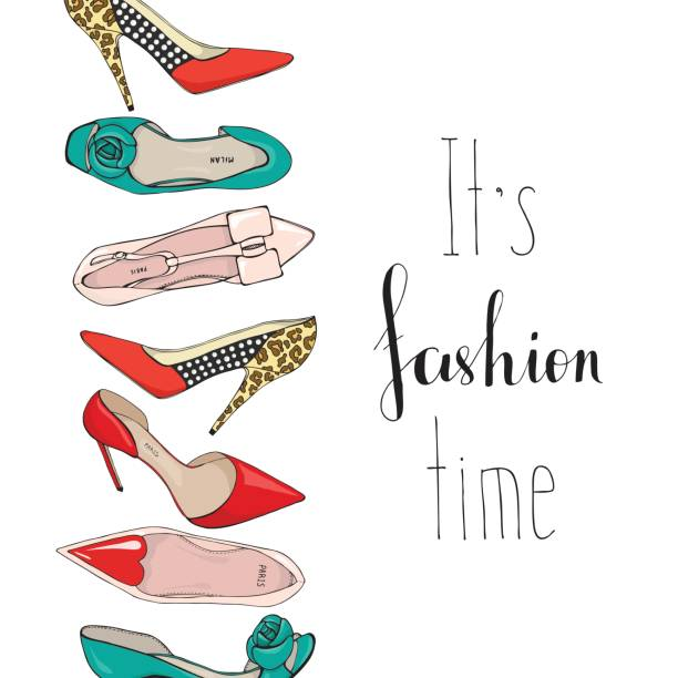 banner with womens shoes and the inscription its fashion time - wysokie obcasy stock illustrations