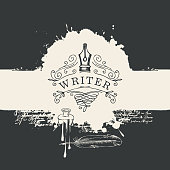 Vector banner with vignette or logo for writer on the background of abstract spots in retro style. Artistic black and white illustration with nib, curlicues, feather, blots and splashes.