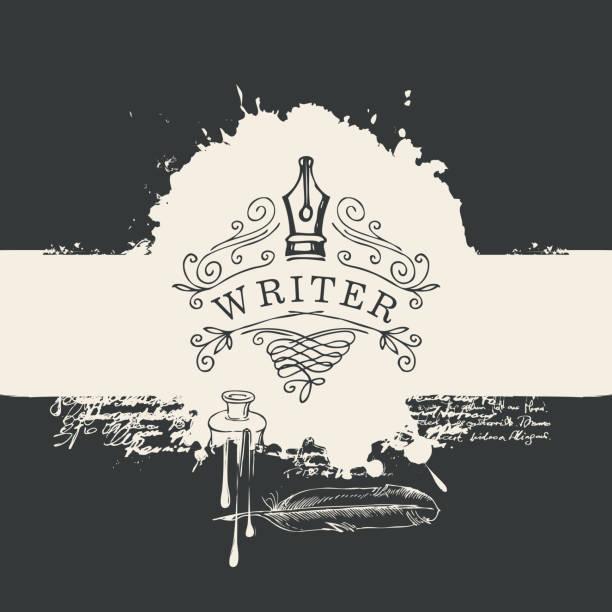 ilustrações de stock, clip art, desenhos animados e ícones de banner with writers logo on abstract background - tinteiro