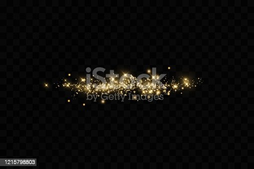 Banner with yellow dust. Light effect on beautiful banners. Dust effect. Dust particles flicker on a dark background. vector illustration. magic.Christmas.