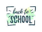 Lettering in frame Back to school on white background with colour blotches. Vector illustration