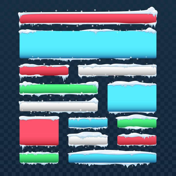 ilustrações, clipart, desenhos animados e ícones de conjunto de vetores de banners e botões com tampões de neve e gelo - botões de bandeiras