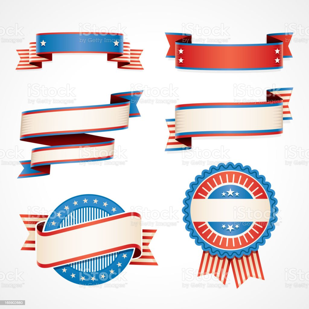 USA banners and flags vector art illustration