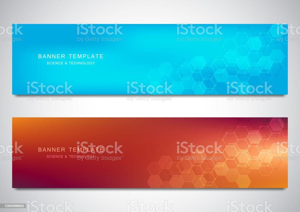 Banner Und Überschriften Für Website Mit Medizinischen Hintergrund Und  Sechsecke Muster Abstrakte Geometrische Struktur Modernes Design Für  Dekoration