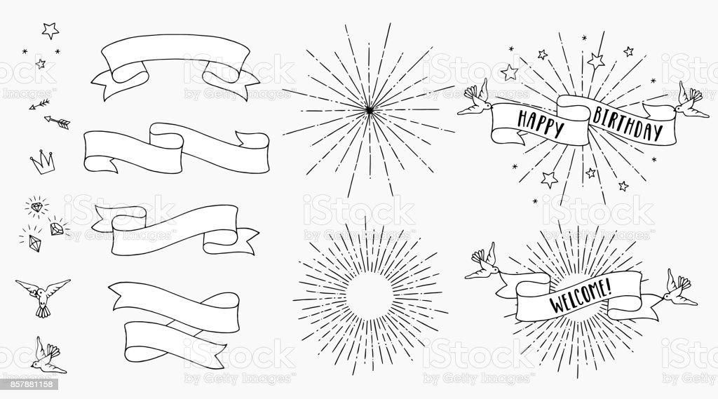 Banners and sunbursts vector art illustration