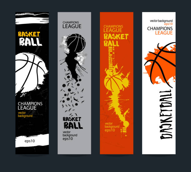 Banners, design for basketball. Sport vector illustration, Templates. Grunge style, polygon. EPS file is layered(clipping mask). vector art illustration