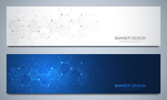 Banners design template and headers for site with molecular structures. Abstract vector background. Science, medicine and innovation technology concept. Decoration website and other ideas.