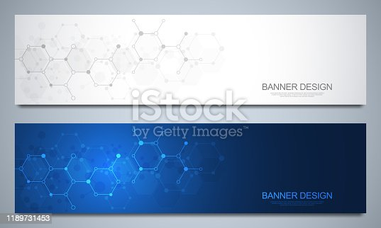 istock Banners design template and headers for site with molecular structures. Abstract vector background. Science, medicine and innovation technology concept. Decoration website and other ideas. 1189731453