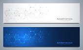 Banners design template and headers for site with molecular structures. Abstract vector background. Science, medicine and innovation technology concept. Decoration website and other ideas