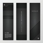 Set of three vertical banner templates with an carbon metallic background, carbon fiber texture.