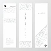 Set of three vertical banner templates with an abstract background, white pattern.