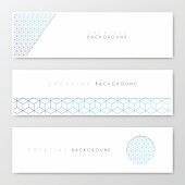 Set of three horizontal banner templates with an abstract geometric background. Blue and purple pattern, geometric background with cube shape.