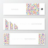 Set of three horizontal banner templates with color people on white background.