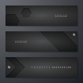Set of three horizontal banner templates with an carbon metallic background, carbon fiber texture.