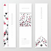 Set of three vertical banner templates with an abstract geometric background. Modern background with gray and red triangles.