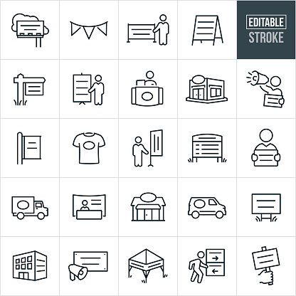 Banners, Displays and Signs Thin Line Icons - Editable Stroke