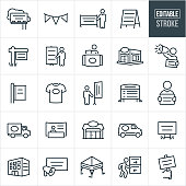 A set of banners, displays and signs icons that include editable strokes or outlines using the EPS vector file. The icons include a billboard, banner, signs, display sign, real estate sign, advertising sign, outdoor signage, retail sign, company sign, person with bullhorn and handheld sign, t-shirt, light pole sign, yard sign, directional signage, trade booth signage, vehicle advertising and other forms of building signage.