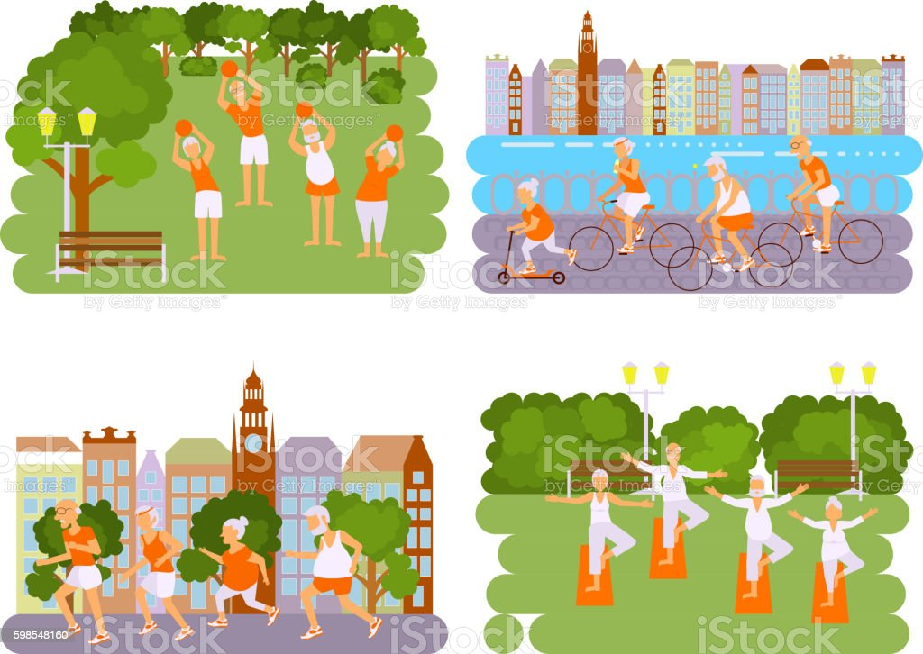 Banners Elderly people doing exercises banners elderly people doing exercises – cliparts vectoriels et plus d'images de activité libre de droits