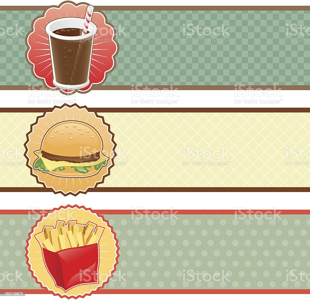 Banners fast food with cola, hamburger and fries. royalty-free stock vector art