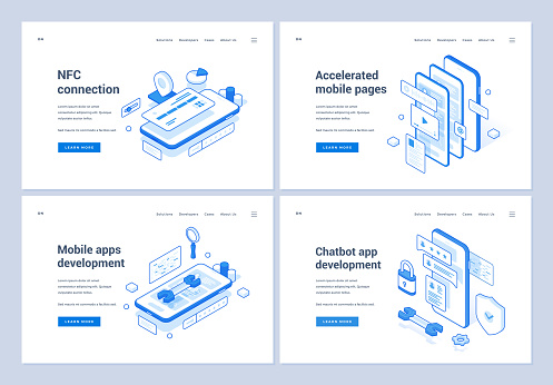 Banners for assorted mobile app development services